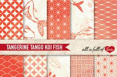 Japanese Digital Background Patterns in Tangerine Tango :: Graphics with quatrefoil, scalops, koi fish, leafs and more. You get 10 High Quality Sheets :: JPG files in Letter and A4 size with 300 dpi jpg, for perfect printing or digital use. These have so many uses, they are great for scrapbooking, crafts, party decor, DIY projects, blogs & more. All patterns are original and copyrighted by All is Full of Love