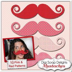 Red+&+Pink+Mustaches+10+Printable+Wedding+or+by+DigiScrapDelights,+$3.00