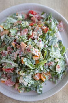 BLT Chopped Salad with Basil Greek Goddess Dressing