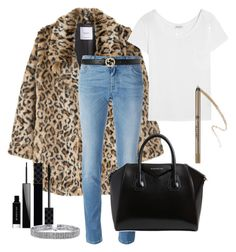 A fashion look from December 2016 featuring white shirt, brown coat and blue jeans. Browse and shop related looks. Givenchy, Gucci, Leopard Coat, Anastasia Beverly, Bling Jewelry, Beverly Hills, Blue Jeans, Yves Saint Laurent, Mango