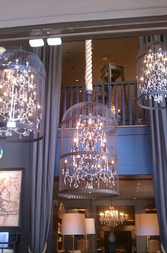 birdcage chandeliers an outside patio or garden. Birdcage Chandelier, Chandelier Lighting, Chandeliers, Birdcage Decor, Ceiling Decor, Ceiling Lights, Recycling, Beach Cottage Style, Cricut Design