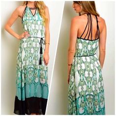 """Boho Maxi Dress by Wow Couture This gorgeous boho style maxi dress is by Wow Couture.  -detailed design  -all over pattern -fully lined and high quality material  -approx 60"""" length  -Tassel waist tie -racer back straps  -necklace neckline Dresses Maxi"""
