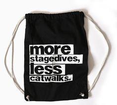 "Baumwoll-Turnbeutel // Sportsbag ""More stagedives, less catwalks"" by lidealista via DaWanda.com"