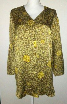 Vintage VICTORIAS SECRET Lingerie Night Shirt Gold 100% SILK  P / S #VictoriasSecret