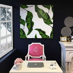 Wow wow wow! Everything pops in this office space and the banana leaf print is amazing #deskgoals #print #bananaleaf #katiekime #office #desk #workspace #pink #green #color #colour #home #boss #thursday