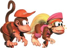 lashes, pink, knotted shirt, fur+hair, boyish cap // Diddy and Dixie, Donkey Kong series