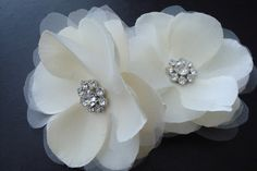 Set of two organza flowers