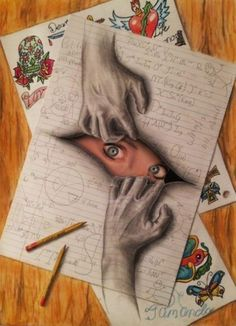 The hands in this drawing pull attention to somebody peeking out of the opening, this drawing caught my eye because of how creative it became.