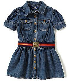 b91eae381275 Ralph Lauren Childrenswear Little Girls 2T-6X Denim Belted Shirt Dress |  Dillard's
