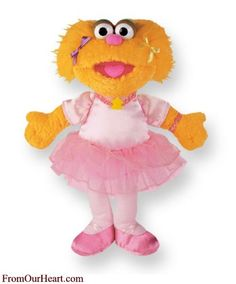 Zoe Ballerina Plush is a favorite of every child. She is soft and huggable. She is a classic Sesame Street plush toy character and measures 12 inches. $23.80