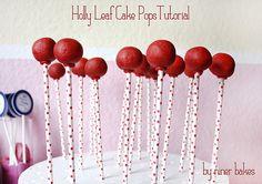 Christmas Cake Pops Tutorial: How to make Holly Leaf Cake Pops | niner bakes