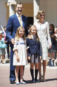 Queens & Princesses - Princess Leonor made her first communion at her school in Madrid. King Felipe, Queen Letizia, Infanta Sofia, King Juan Carlos, Queen Sophia, Letizia's parents and her grandmother were present at the ceremony.