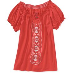 Embroidered peasant shirt in faded red