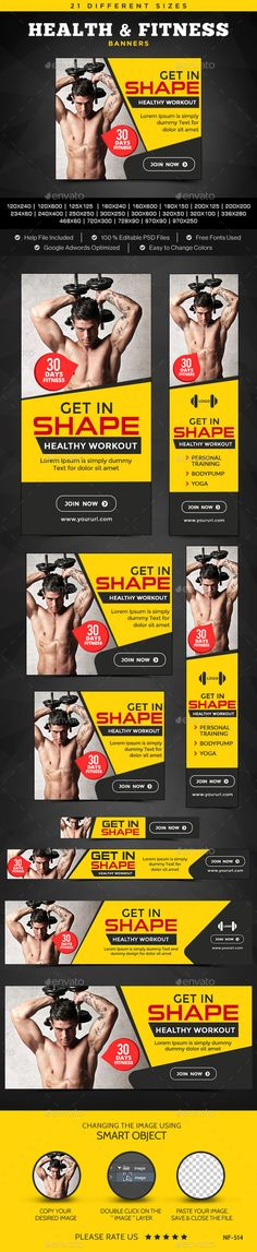 Health & Fitness Banners Template #design Download: http://graphicriver.net/item/health-fitness-banners/12156550?ref=ksioks