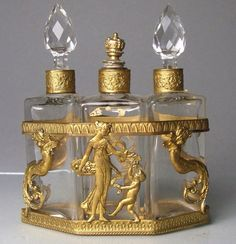 Antique French Napoleon III Crystal Ormolu Triple Perfume Caddy.