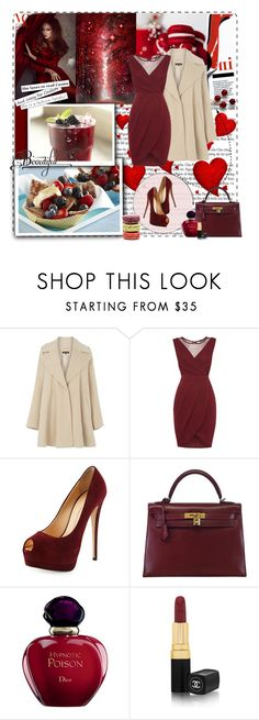 red by bouchra-re on Polyvore featuring mode, TFNC, Warehouse, Giuseppe Zanotti, Hermès, Chanel, Christian Dior and Ladurée