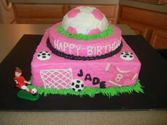 Pretty cool soccer cake if only it said Jenna (: