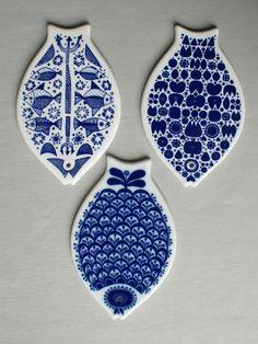 Porsgrund Norwegen Norway 3 Brettchen Porzellan Fischform verschiedene Motive