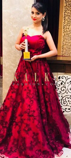 Buy Online from the link below. We ship worldwide (Free Shipping over US$100)  Click Anywhere to Tag Adaa Khan in Kalki deep red strapless gown in floral motif embroidered net Featuring deep red strapless gown with bodice in silk. Enhanced in embroidered net in flroal motif in resham and cod work. Celebrity- Adaa Khan.