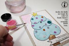 Tutorial tarjetas navidad Cinderella - cómo hacer un árbol de navidad para tarjeta navideña