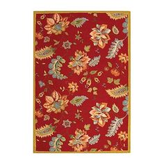 """Jacobean Hand-Hooked Wool Rug - Red, 2'9"""" X 4'9"""" - Frontgate"""
