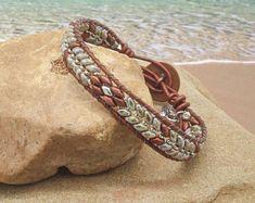 Beaded Leather Bracelets Wraps Cuffs and Earrings by KASJewelryCo