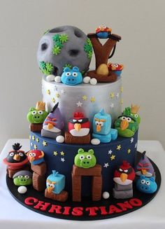 angry birds cake - by Sue Ghabach @ CakesDecor.com - cake decorating website