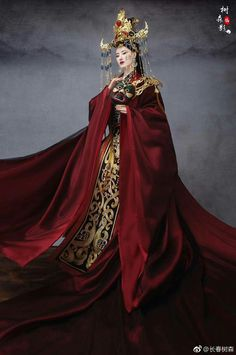 rivetting ribbons of crimson, looking like a river of blood, its color never fades. Oriental Fashion, Asian Fashion, Asian Style, Chinese Style, Chinese Clothing, Hanfu, Costume Design, Traditional Dresses, Asian Woman