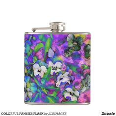 COLORFUL PANSIES FLASK