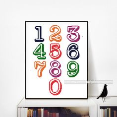 Numbers cross stitch, Set of cross stitch numbers 0-9, Cross stitch pattern PDF, Vintage typewriter, Font, Save the date, Address, kids, baby alphabet Wedding by galabornpatterns on Etsy