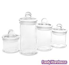 Round Glass Candy Canisters Set with Ball Lids: 4-Piece Case