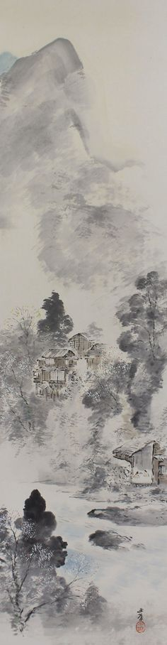 Landscape. Painted with ink on paper. Signed Gyokujo and sealed. Masuda Gyokujo(1881-1955) was a Japanese artist active during Meiji and showa period in Japan. He was a pupil of Kawabata Gyokusho. He exhibited mainly at Buten and Teiten art exhibitions. Some insignificant light marks are present on the painting itself, otherwise the piece is in very good condition. The scroll has been newly remounted and in excellent condition. It is accompanied by an original paulownia wood storage box with…