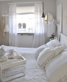 Bedroom Whitewashed Cottage chippy shabby chic french country rustic swedish decor Idea