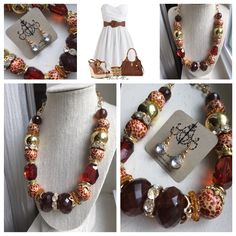 Funky, chunky and fabulous!! Adjustable length necklace just $14 and sparkle drop earrings just $10!