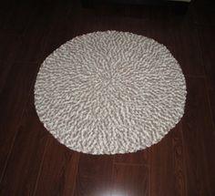 Crochet Round Rug  Brown & Beige Rug Bulky by CoralsChicBoutique