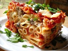 Baked Ziti with mushrooms and spinach