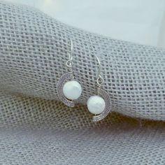Coin pearl earrings - half moon earrings -white  pearl earrings - silver moon earrings - statement earring - cresent moon ear drop