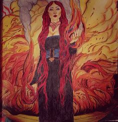 Melisandre - Game of Thrones - Colouring Book - Finally - Finished - The Red Lady - The night is dark and full of terror - Azor Ahai will come - forreal Colouring Pages, Adult Coloring Pages, Coloring Books, Game Of Thrones Images, Valar Morghulis, Harry Potter Movies, Various Artists, American Horror Story, All Art