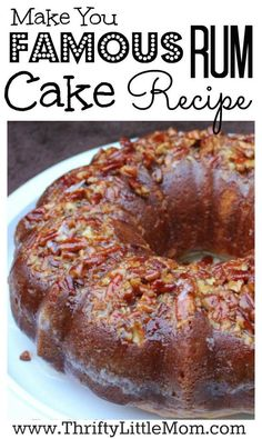 Make You Famous Rum Cake Recipe. This rum cake can be made with rum or without and is highly requested at parties. Impress your friends at your next party with this super easy to make rum bunt cake. Cake for engagement Party Desserts, Mini Desserts, Just Desserts, Delicious Desserts, Yummy Food, Plated Desserts, Dumplings Receta, Food Cakes, Cupcake Cakes