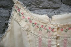 1970s Ivory Gunne Sax Dress with Delicate Pink by Anniegrumbles