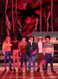 I'll be watching you - Stranger Things 2 art by Tracy J Lee. Max, Lucas, Will, Eleven, Dustin, Mike.