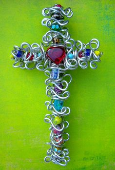 10 Inch Artsy Beaded Red Heart Wall Cross