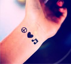 3pcs Tiny Peace Love Music Small tattoo - InknArt Temporary Tattoo - pack tattoo quote wrist ankle body sticker anchor fake tattoo