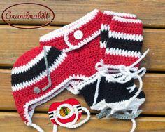 CHICAGO BLACKHAWKS PACIFIER & Baby Hockey Crocheted by Grandmabilt, $87.00