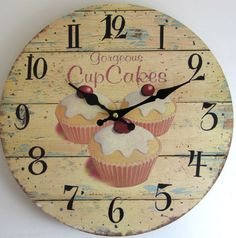 Vintage style kitchen wall clock distressed cream gorgeous cup cakes 34cm new