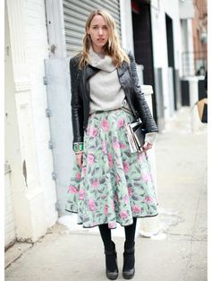 Moto jacket, grey sweater and floral skirt