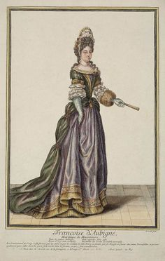 Francoise d' Aubigné, Marquise de Maintenon by Nicolas Arnoult.  This high quality print of the Marquise de Maintenon wearing a mantua with a small bustle gives an ides of what brought Louis XIV to her.