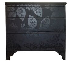 pinterest furniture redo    Furniture Redo / Bryonie-Porter-Wallpapered-Furniture or paint in a matte color and then stencil in the same color but with a high gloss finish to create the same contrast