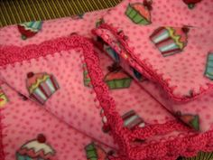 Baby Girl Pink Baby Blanket & Changing Pad With Crochet Ruffle - Cupcakes | eBay