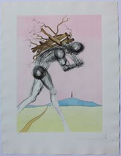 """""""Issachar"""" by Salvador Dali - Etching. """"Issachar"""" by Salvador Dali is a. Dali Quotes, Salvador Dali Paintings, Surrealism Painting, Fine Art Auctions, Jewish Art, Weird Art, Figure Drawing, Art Pictures, Les Oeuvres"""